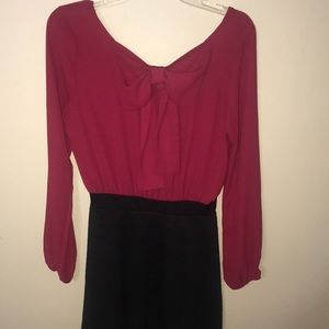 Burgandy & Black Skater Dress with Attached bow 🎀